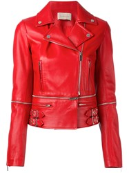 Christopher Kane Leather Biker Jacket Leather Viscose Red