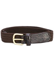 Lardini Cinturo Belt Men Crocodile Leather Spandex Elastane 105 Brown