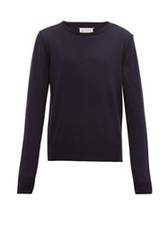 Maison Martin Margiela Logo Stitched Inverted Seam Wool Blend Sweater Navy