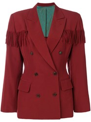 Jean Paul Gaultier Vintage Fringed Double Breasted Jacket Red