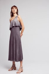 Anthropologie One Shoulder Tiered Midi Dress Dark Grey
