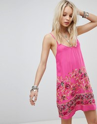 Kiss The Sky Cami Dress With Floral Embroidery Pink