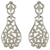 Eclectica Vintage 1970S Trifari Chrome Plated Charm Clip On Drop Earrings Silver