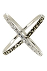 Judith Jack Sterling Silver Swarovski Embellished Criss Cross Ring Size 6 Metallic