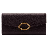 Lulu Guinness Half Covered Lip Trisha Leather Purse Aubergine