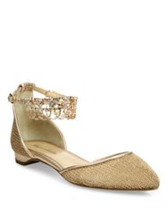 Monique Lhuillier Clarke Jeweled Metallic Mesh Ankle Strap Flats Rose Gold