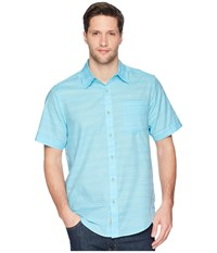 Exofficio Soft Cool Avalon Short Sleeve Shirt Poolside Short Sleeve Button Up Blue