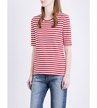 Ag Jeans Gracen Cotton Jersey T Shirt Red White Stripe