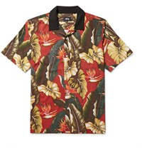 Stussy Camp Collar Printed Matte Satin Shirt Red