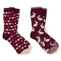 Fat Face Rabbit And Heart Print Ankle Socks Pack Of 2 Maroon Multi