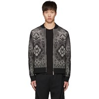 Alexander Mcqueen Black And White Ivy Lace Bomber Jacket