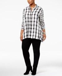 Melissa Mccarthy Seven7 Trendy Plus Size Plaid Shirt White Black