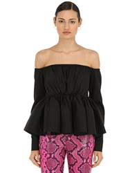 Marques Almeida Off The Shoulder Crinoline Tencel Top Black
