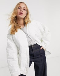 Weekday Nova Quilted Jacket In Off White
