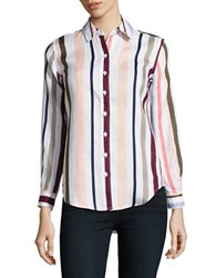 Lord And Taylor Petite Striped Linen Shirt Purple