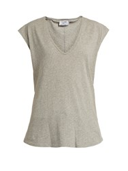Frame V Neck Cotton Jersey T Shirt Grey