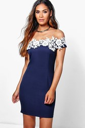 Boohoo Lace Off Shoulder Detail Bodycon Dress Navy