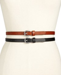 Inc International Concepts 2 For 1 Skinny Belts Only At Macy's Black Brown