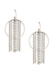 Dannijo River Chain Fringe Hoop Earrings 2 Silver