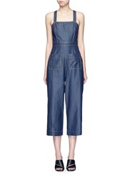 Tibi 'Neo' Washed Cotton Twill Overalls Blue