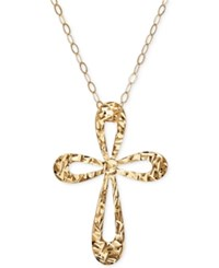 Macy's Textured Open Cross Pendant Necklace In 10K Gold