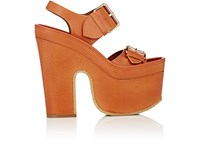 Stella Mccartney Women's Double Band Platform Sandals Orange Peach