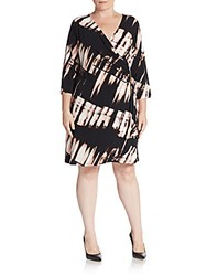 Calvin Klein Plus Size Three Quarter Sleeve Faux Wrap Dress Black Blush