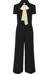 Red Valentino Redvalentino Pussy Bow Chiffon Trimmed Cady Jumpsuit Black
