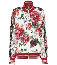 Dolce And Gabbana Floral Printed Cady Track Jacket Red
