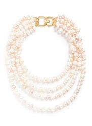 Kenneth Jay Lane Tiered Glass Pearl Necklace White