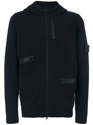 Stone Island Shadow Project Knitted Zip Hoodie Men Polyester Wool Xl Blue