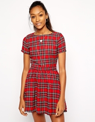 Daisy Street Skater Dress In Tartan Red