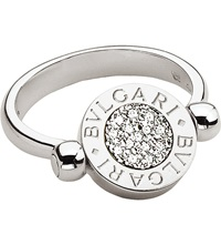 Bulgari Bvlgari Bvlgari 18Ct White Gold And Pave Diamond Flip Ring