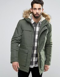 Only And Sons Parka With Faux Fur Borg Lined Hood Khaki Green