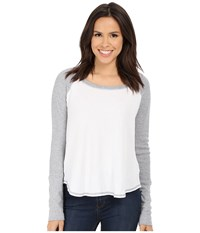 Splendid Thermal Baseball Tee White Heather Grey Women's T Shirt
