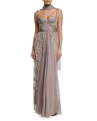 Mignon Sleeveless Tiered Lace Gown W Shawl Champagne
