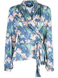 Patbo Floral Belted Wrap Top Blue