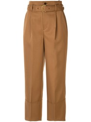 Loveless High Waist Cropped Trousers Brown