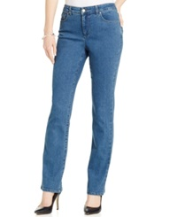 Charter Club Petite Tummy Slimming Straight Leg Jeans Nantucket Wash Only At Macy's