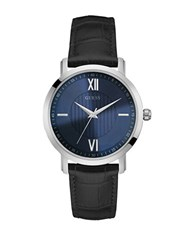 Guess Silvertone Stainless Steel And Leather Dress Watch U0793g2 Black