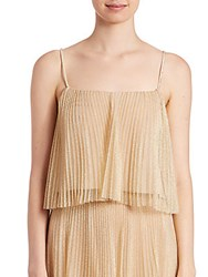 Abs By Allen Schwartz Metallic Tulle Pleated Cropped Top Gold