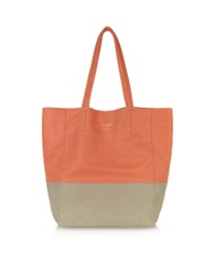 Le Parmentier Large Color Block Nappa Leather Tote Taupe Coral