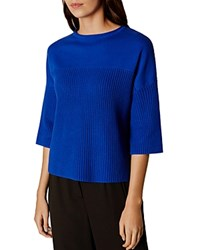 Karen Millen Contrast Knit Sweater Blue