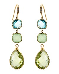 Indulgems Green Amethyst And Glass 3 Drop Earrings