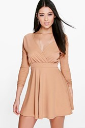 Boohoo Long Sleeve Wrap Front Skater Dress Sand