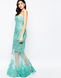 Forever Unique Savannah Maxi Dress With Sheer Skirt Aqua Blue