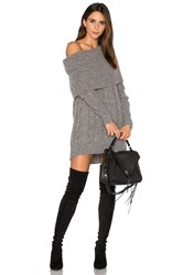 Kendall Kylie Oversized Cable Tunic Sweater Gray