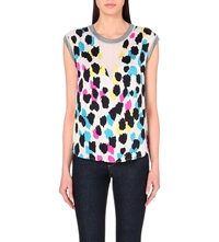Sandro Animal Print Sleeveless Top White