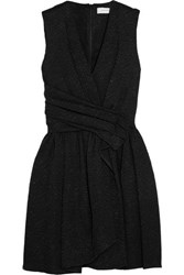 Carven Wrap Effect Matelasse Mini Dress Black