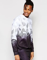 Jaded London Sweatshirt With Ombre Paisley Print Black